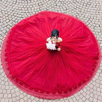 Red Lace Ball Gown Quinceanera Dresses Bateau Neck Long Slee...