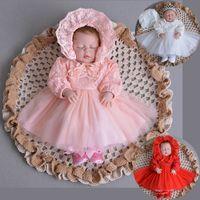 2018 mangas compridas batizado vestido infantil vestido cheio do bebê princesa dress crianças vestidos de renda de maternidade do bebê crianças roupas batismo vestidos