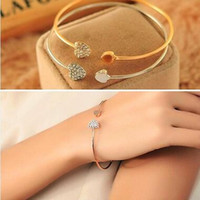 Mujer moda estilo aleación oro plata rosa oro color diamantes de imitación amor corazón brazalete brazalete brazalete corazón de cristal brazaletes