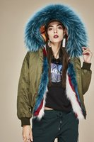 Women Bomber Jacket thick warm Fox Fur Lining hooded with Bl...
