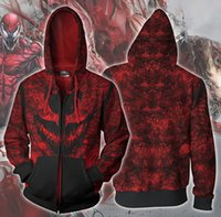 Nouveaux couples de mode unisexe Spider-Man Maximum Carnage Cosplay 3D Imprimer LoveMarvel Sport Zipper Zip Up Hoodies Veste Top