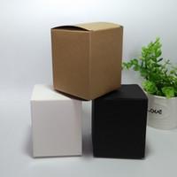 50 pcs 8 * 8 * 10 cm Em Branco Branco / Preto / Caixa De Embalagem De Papel Kraft DIY Sabão Artesanal caixas de presente de cosméticos tubos de válvula pacote