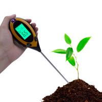 شحن مجاني 4 في 1 اختبار التربة ضوء اختبار الحموضة متر ph متر رطوبة الهواء العد صريحة