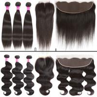 Glary дешевые бразильские девственные волосы тела волна прямо 3 пучка и 4x4 кружева закрытия или 13x4 кружева фронтальной человеческих волос уток