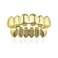 Hip Hop Gold Teeth Grillz Top Bottom Грили Dental Mouth Punk зубов Caps Cosplay партии Зуб Рэпер подарка ювелирных изделий Бесплатная доставка