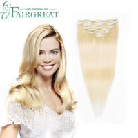 Remy Hair Extensions Clips Blonde 613# Color Full Head Clip ...