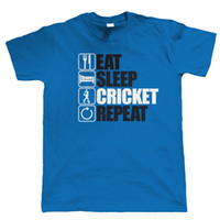 Eat Sleep Cricket Repeat, Mens Funny, Scores T Shirt, Gift Dad Grandad Nuevas camisetas Funny Tops Tee New Envío gratis