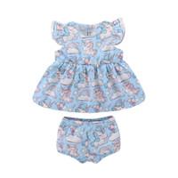 Милый младенец детская одежда наборы девочек единорог радуга облако воздушный шар без рукавов жилет платье топы + шорты 2 шт.
