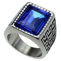 Silver Tone Men' s Stainless Steel 316 Cushion Cut Cubic...