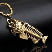 Charms Fish Bone Fishing Hook Pendant Necklaces Shellhard Stainless Steel Hollow Fish Skeleton Bone Necklace Fashion Jewelry Wholesale