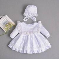 Retail Baby Meisje Jurk Lange Mouwen Doopjurk Eerste Verjaardag Jurk voor Bruiloft + Pet Infant Kleding E211