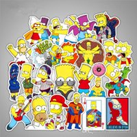 50pcs / lot Anime Cartoon Simpson voiture mixte autocollants pour moto ordinateur portable autocollant sticker frigo skateboard PVC autocollants pour voyage suitcas
