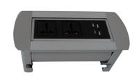 El zócalo de escritorio con tapa manual de plata 2018 para oficinas, hoteles y otros lugares multimedia de alta calidad es plata / negro