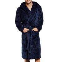 Мужская зимняя удлиненная Coralline Плюшевая шаль халат с длинным рукавом халат пальто термобелье # 1019 487-733