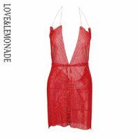 LoveLemonade Sexy Red Rhinestone Metal Abrir Voltar Party Dress LM0901