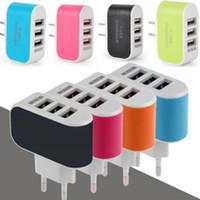 Para iPhone 6 7 Plus 3 Fast Port de carga del cargador USB 3.1A Triple puerto USB pared del recorrido del CA del hogar del cargador del adaptador de enchufe de la UE de Estados Unidos para Android y iOS