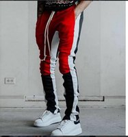 Hiphop Kanye Mens Casual Pants Colors Patchwork Zippers Jogg...
