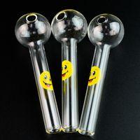 Fronte di sorriso Logo Pipes Pyrex vetro del tubo del bruciatore a nafta cucchiaio bicchiere buffo mano tubo pipe per fumatori accessori libera il trasporto SW15