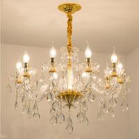 Avrupa kristal lamba oturma odası yemek odası yatak odası kristal avize Jane Avrupa villa lüks atmosfer mum altın lamba