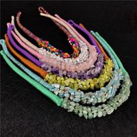 Personalidad de la moda Collar de Piedra Natural Estilo de Bohemia Multi Color tejer a mano Piedra de Grava Natural Mujeres Gargantilla Collares