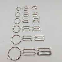 Vários tamanho de acessórios de sutiã de liga de prata fivela gancho anel deslizante 50 conjuntos / lote frete grátis