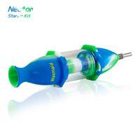 Нектар Коллектор Kit Приходите с Titanium Nail Waxmaid Nector Силикон + стекло водопроводные трубы Glass Bong для нефтяных вышек мазки