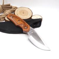 Cuchillo pequeño y recto Cuchillo fijo Cuchillo de caza 440C Hoja Mango de madera Cuchillos tácticos de supervivencia para acampar con funda de nylon Herramientas EDC