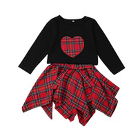 Baby Plaid outfits children girls Christmas lattice Heart ty...