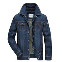 Ropa de hombre otoño invierno Jeans Jakcet ocasional de los hombres outwear la capa del vaquero Denim Jacket Multi bolsillo de hombres Ropa de la curva de cuello 2018