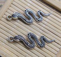 Atacado 30 pcs cobra retro antiga liga de prata charme pingente jóias descobertas jóias fazendo DIY presente 42 * 14mm