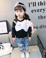 Girls T-shirts Kids unicorn printed falbala Tops Children round collar long sleeve sweatshirt Autumn baby kids clothes A01155