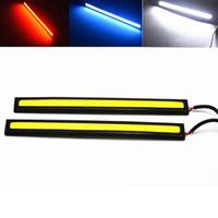 2 x 17 CM 자동차 LED COB DRL 주간 러닝 라이트 방수 12V 외부 주도 자동차 광원 주차 안개 바 램프 화이트 블루 레드