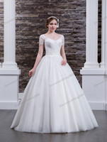 Charming White Tulle Lace Scoop Applique A- Line Wedding Dres...