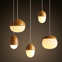 Nordic Креативный Wood Grain Стеклянные Nuts Подвеска Свет Гриб Droplight Повесьте лампа E27
