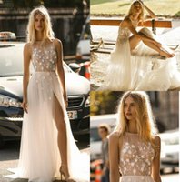 Gali Karten 2019 A Line Brautkleider Sheer Bateau Neck Lace Land Brautkleider Slit Appliqued Beach Wedding Dress Boho