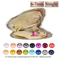 2018 DIY round akoya oyster Jewelry 6- 7 mm 25color freshwate...