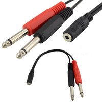 20cm Conector hembra de 3.5 mm a 2 Cable adaptador de enchufe de audio mono jack macho TRS de 6.35 mm