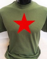 Red Star Soviet Communist Political Retro T- Shirt Mens