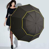 130cm Gran paraguas de calidad superior Mujer lluvia a prueba de viento grande Paraguas Hombres Mujeres sol 3 Floding Paraguas grande Parapluie al aire libre