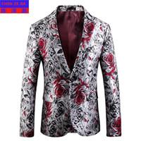 Chegada nova Outono Inverno de Alta qualidade Jacquard Terno Único Breasted Casuais Homens Blazer moda plus size M L XL 2XL 3XL 4XL 5XL