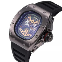 High Quality Mens Luxury quartz Watch Silicone Ghost Head Sk...