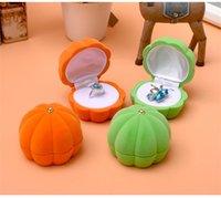 크리 에이 티브 호박 디자인 귀걸이 상자 오렌지 그린 컬러 벨벳 목걸이 반지 케이스 호박 모양의 보석 상자 선물 상자 포장