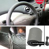 Universal Anti-dérapant respirant en cuir PU bricolage volant de voiture de couverture de cas avec des aiguilles et du fil Livraison gratuite