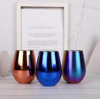 3 색 12 온그 컵 와인 안경 더블 벽 스테인리스 진공 절연 컵 칵테일 컵 뚜껑이 달린 야외 맥주 머그잔