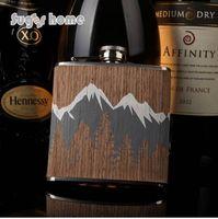 Vente chaude 6 oz en bois enveloppé 304 # acier inoxydable hip fiole Flacon pour bouteille d'alcool vodka Whisky bouteille garçons d'honneur cadeaux