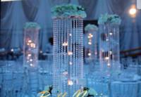 Slive zihinsel kristal akrilik 74 düğün masa için centerpieces, yapay 123c düğün masa dekorasyon için çiçek standı