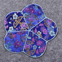 Luxus Kirschblüte Kaffee Coaster Cup Tischset natürliche Maulbeerseide Mat Esstisch Pad chinesischen Stil Vintage Palette Untersetzer 26 x 26 cm