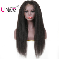 UNice Yaki Straight Human Hair Lace Front Wigs 150% Density ...