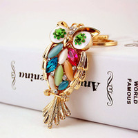 Cute Owl Branch White Crystal Charm Purse Handbag Car Key Ke...