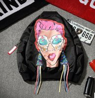 Harajuku Men Jackets Black Spring Cute Funny Girls Printed C...